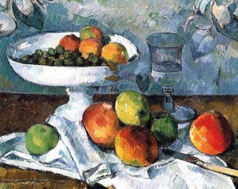 ORIGINAL design, durable and WASHABLE PLACEMAT - Paul Cezanne - Compote glass and apples - classic.