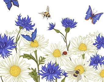 ORIGINAL design, durable and WASHABLE PLACEMAT - watercolor flowers, butterflies, ladybug and bee - classic.
