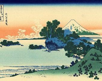 ORIGINAL SEMI RIGID PLACEMAT. Hokusai. Bis Sagami province Shichiri Beach 1.