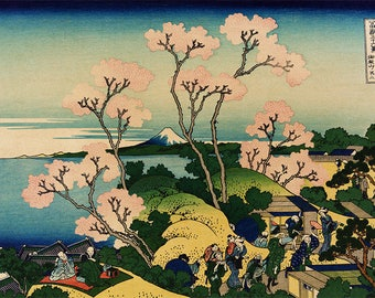 ORIGINAL SEMI RIGID PLACEMAT. Hokusai. Hill on the island of Tokaido.