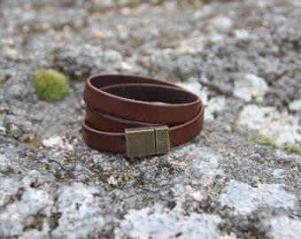 Lace leather wrap bracelet