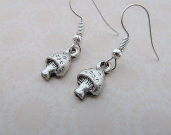 silver plated toadstool charm earrings, UK jewellery
