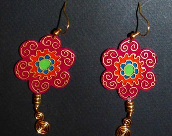 Flower Earrings with shrink plastic and gold beads