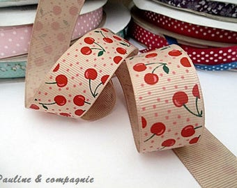Ribbon grosgrain Ribbon 25 mm width cherry pattern