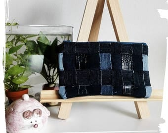 Blue and black pouch
