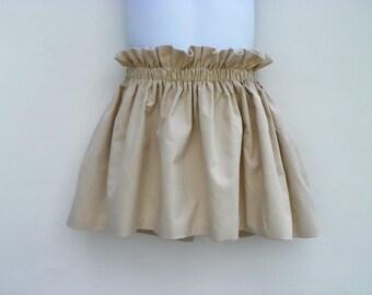 """Girls cotton skirt elastic waist """"beige Désert""""."""