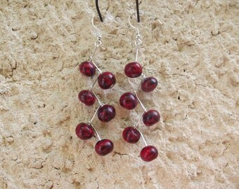 Red and dark blue dangle earrings