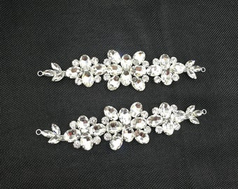 7.6''*2.2'' Crystal  Silver or silvering base Sew On Rhinestone Applique Chain