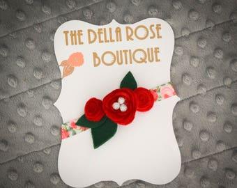 Red Felt Rose Floral Headband