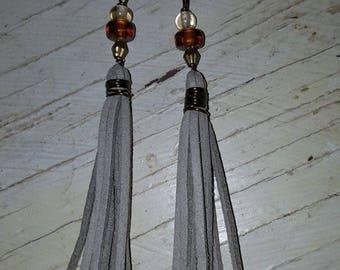 Gray suede tassel earrings