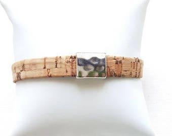 Flat Cork 1 cm and 1 slide bracelet