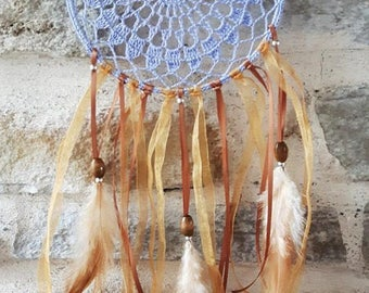Large dream catcher feathers and dream purple crochet beige