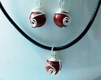 FREE UK SHIPPING - Red Jasper Gift Set - 925 sterling silver, Birthstone, astrological, zodiac, Aries, Scorpio, Virgo, Birthday, Christmas,