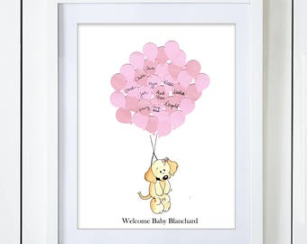 Puppy Dog Baby Shower Guest Book Alternative Girl Boy Gender Neutral