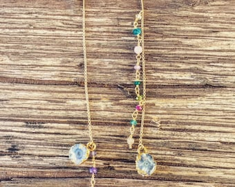 Chain Druzy Earrings