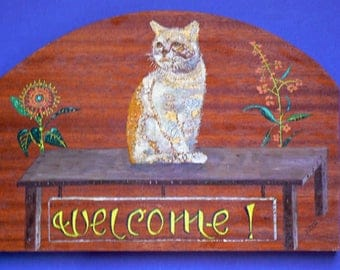 acrylic on wood: type welcome table: cat perched
