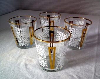 4 Vintage Tumblers - gold rim - excellent condition - drinking glasses