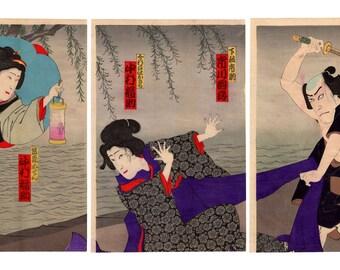 Ghosts in the moonlight (Utagawa Kunisada III) N.1 triptych of ukiyo-e woodblock prints