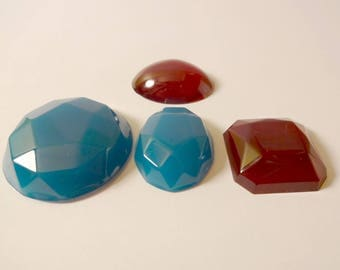 Large garnet red resin cabochons and turquoise (x 4) - design jewelry - scrapbooking
