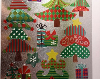 10 Christmas stickers - stickers trees colored - gifts