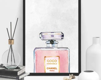 Chanel Perfume Bottle | Coco Chanel Print | Fashion Quote | Coco Chanel Printable | Chanel | Pink Chanel | Chanel Printable | Perfume Bottle