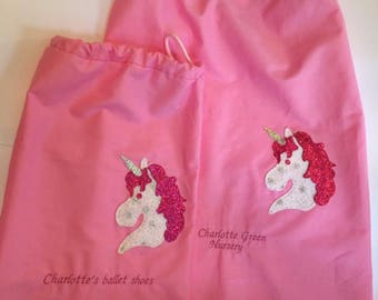 Sparkly unicorn drawstring bags