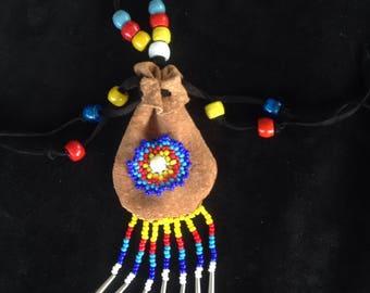 Sundance Peyote Stitch Kangaroo leather medicine bag Medicine pouch with jingles