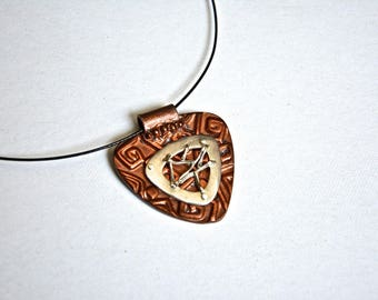 Pendant / Necklace in copper and 999/1000 silver