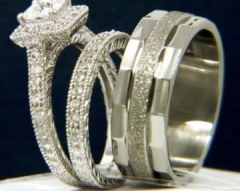 Regaalia Jewels His Her Mens Woman Diamonds Wedding Ring Bands Trio Bridal Set 14K Gold Over All Size Available FREE SHIPPING
