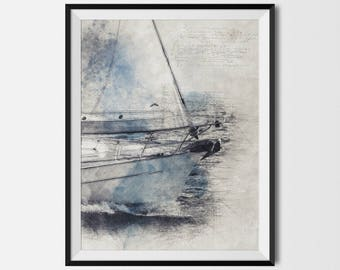 Yacht Printable, Yacht Poster, Racing Yacht, Nautical Art, Sailing Poster,Sailing Decor,Sailing Ship,Sailboat,Sailor Gifts, INSTANT DOWNLOAD