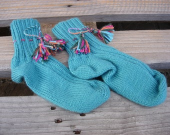 Turquoise socks with link and tassel