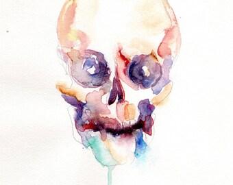 Memento Mori Skull Blue Watercolor Painting