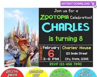 SALE 80% OFF: Zootopia Invitation, Zootopia Instant Download Invitation, Zootopia Invitations, Zootopia Birthday Invitation, Zootopia PDF