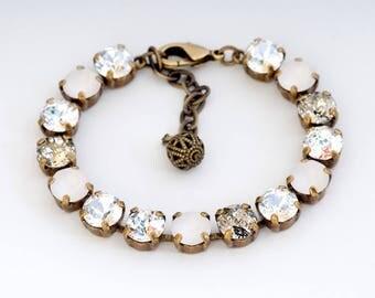 Clear Crystal Bracelet, Clear Swarovski Crystal Bracelet, Wedding Bracelet Brass, Clear Rhinestone Bracelet, Austrian Crystal Jewelry, Duci