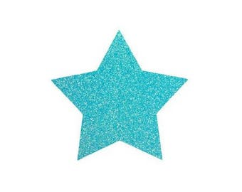 5 X 4.8 cm neon blue glittery star fusible pattern