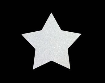 5 X 4.8 cm white glittery star fusible pattern
