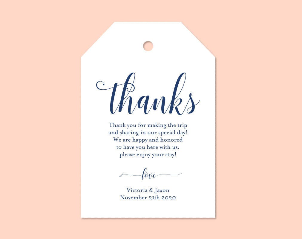 Navy Blue, Thank You Tag, Gift Tags, Wedding Thank You Tags, Wedding ...
