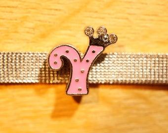 Pink Pearl Crown width is alphabet for bracelet