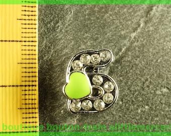 Pearl letter S heart N7 bandwidth rhinestone alphabet for bracelet