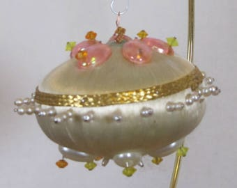 Vintage Hand embelished Vintage Christmas Tree Ornament saucer shaped ball Pink white and gold