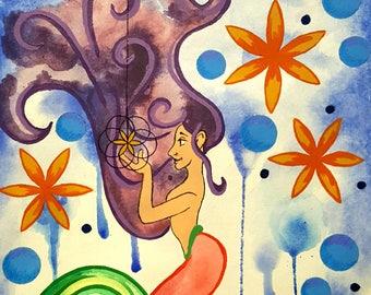 Sacred mermaid original watercolor
