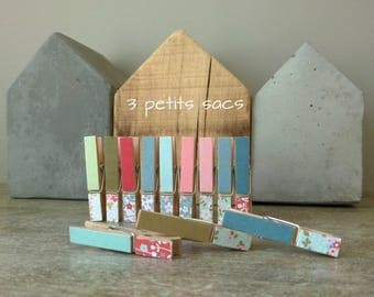Miniature clothespins wooden, vintage floral papers