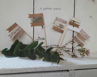 Mini mini Garland flags for table decoration, cake top picks and paper. shabby vibe