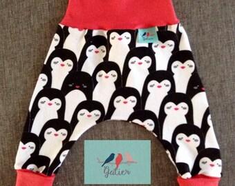 "Pantacool long baby Hoody ""penguins"" smooth ribbed red coral"