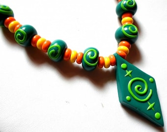 Fimo necklace * the Ethni'cook Green * spiral