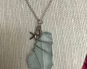 Sea glass Necklace, Blue Sea glass Necklace, Beach Necklace, Wire Wrapped Sea glass Necklace, Beach Jewelry, Starfish Necklace