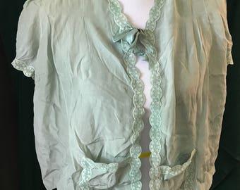 Vintage Barbizon Pure Silk Green Bed Jacket