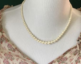 Vintage Faux Pearl Silver Toned Necklace