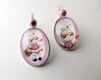 """Earrings Cabochon """"Girl"""" pink heart lollipop cat Hat"""