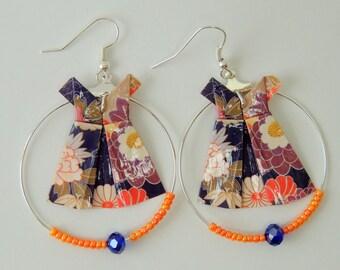 """Flower dress"" blue Orange purple white Origami earrings"